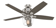 "Hunter 52"" Remote Control Ceiling Fan & LED Light Bennett Brushed Nickel 54188- OPEN BOX SPECIAL"