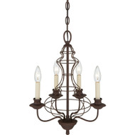 "Ashley Harbour 19"" Chandelier 4 Light Rustic Antique Bronze Finish LWS2111F"