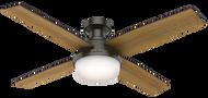 "Hunter 52"" Remote Control Ceiling Fan Dempsey Low Profile Noble Bronze 59447"