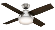 """Hunter 44"""" Remote Control Ceiling Fan Dempsey Brushed Nickel 59245 -OPEN BOX SPECIAL"""
