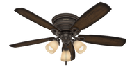Hunter 52 Inch Ceiling Fan Ambrose Coll with 3 Lights Onyx Bengal 53356