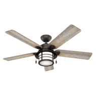 Hunter 54 Inch Ceiling Fan with Light Key Biscayne Onyx Bengal 59273- OPEN BOX SPECIAL