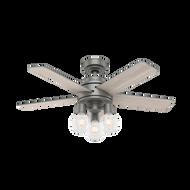 Hunter 44 Inch Remote Control Ceiling Fan Hardwick Matte Silver 50597
