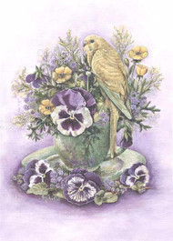 Budgerigar and Pansies