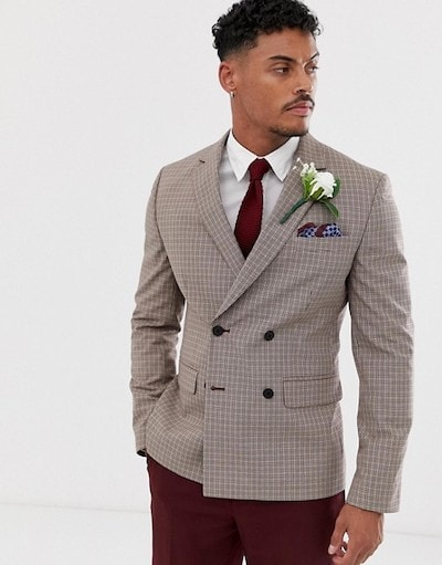 four button double-breasted check suit jacket