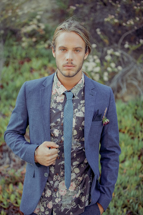 Groom in blue chambray suit