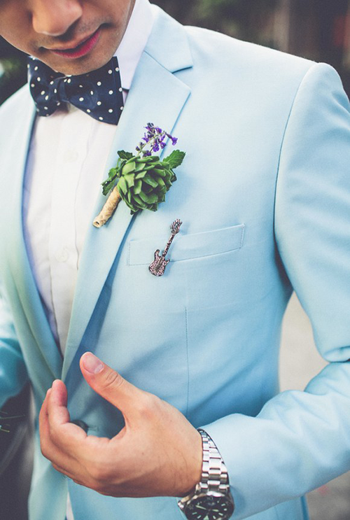 Light blue men's groom suit for weddings