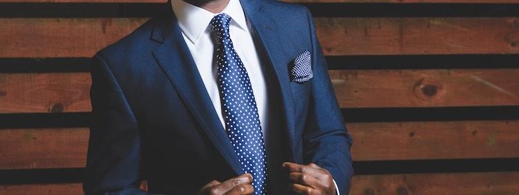 navy polka dot necktie