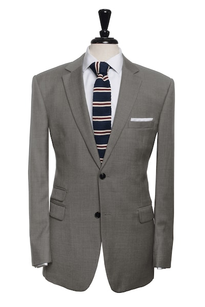 two button mid grey suit