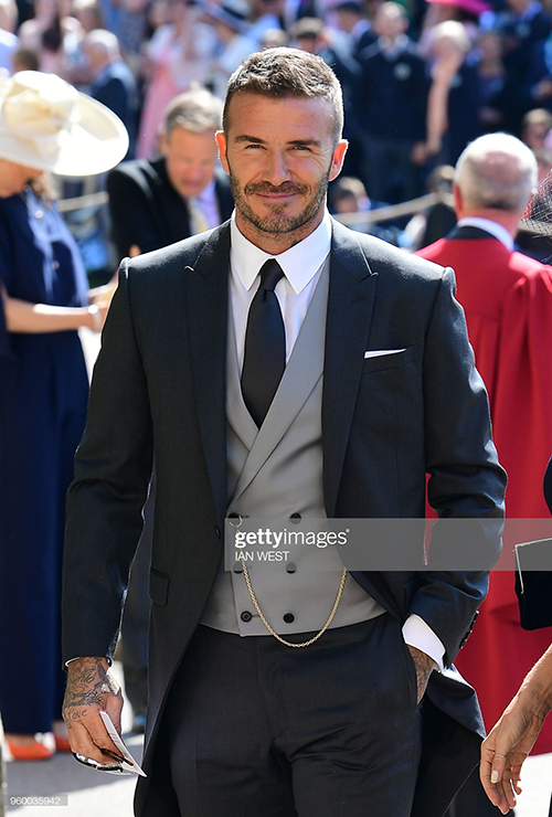 David Beckham wearing a double-breasted vest at the wedding of Prince Harry and Meghan Markle