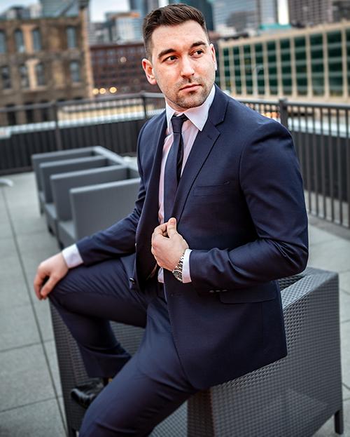 suit jacket with dent or divot under the shoulder