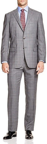 regular/classic fit suit in grey check