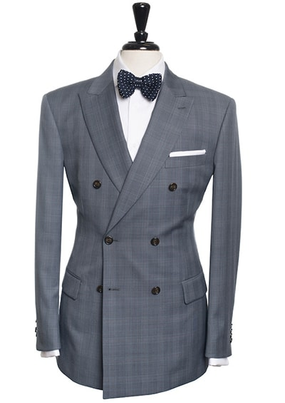 medium grey double-breasted suit with a light blue windowpane pattern
