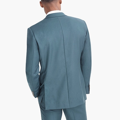 teal blue suit jacket with double vent in wool flannel