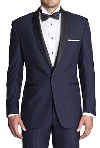 navy tuxedo with black satin lapel
