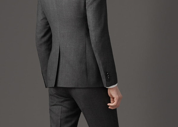 men's grey single vent suit jacket