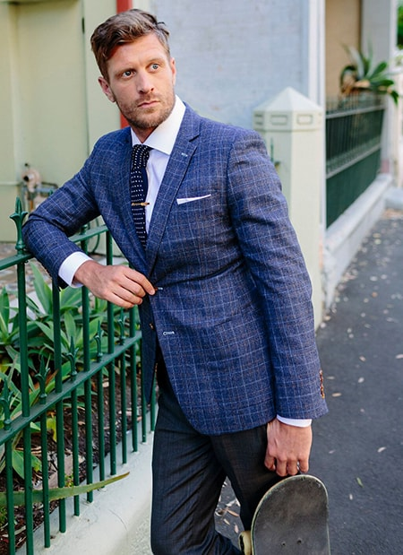 blue tweed plaid sports jacket