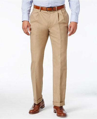 men's tan double pleated dress pants