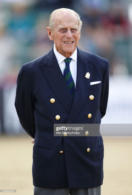 Prince Charles in navy 8 button double-breasted suit