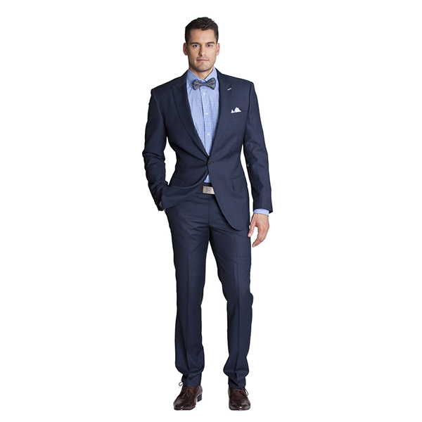 Navy check slim-fit suit with hints of tan and lighter blue