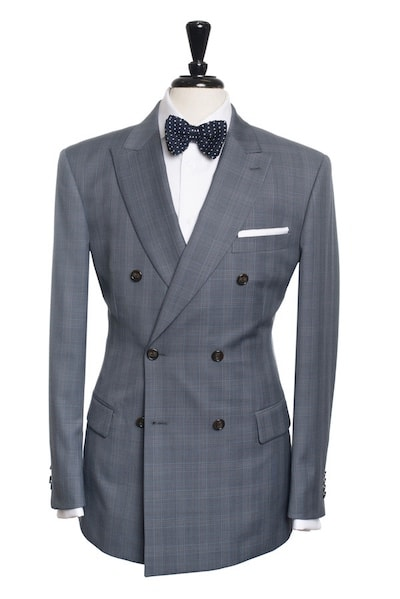 medium grey windowpane six button double-breasted suit jacket