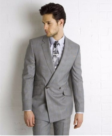 light grey two button double-breasted suit jacket
