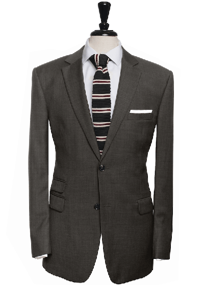 grey suit with ticket pocket and striped tie