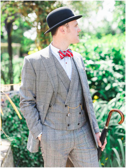 Vintage-look tweed windowpane double-breasted vest and suit for weddings
