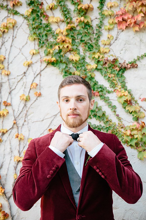 Maroon velvet suit for grooms weddings