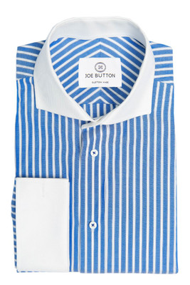 Regan Blue and White Stripe Poplin