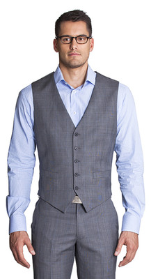 THE GREY WITH BLUE CHECK VEST