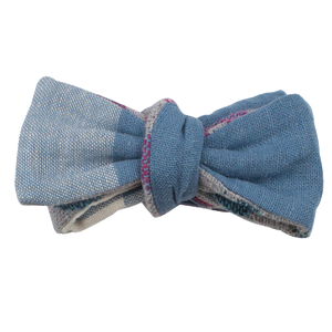 CREAM & BLUE CHECK REVERSIBLE BOW TIE (SELF-TIE)