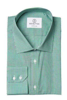 Casper Green and Blue Mini Check Broadcloth