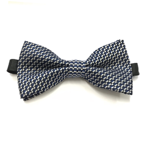 CHECKERED NAVY WOVEN BOW TIE (PRE-TIED)