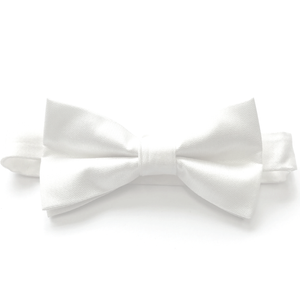 White Textured Woven Bow Tie (PRE-TIED)