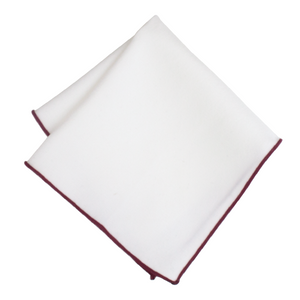 White Pocket Square with Maroon Border