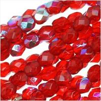 Czech Glass Fire Polish 6mm Siam Red Ruby AB (25)