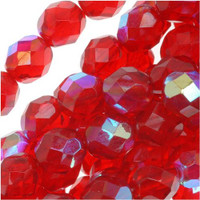 Czech Glass Fire Polish 8mm Siam Red Ruby AB (25)