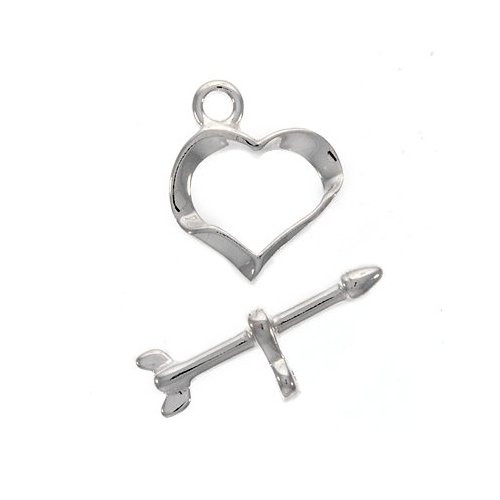 SC2954 10 Heart Toggle Clasp Sets Antique Silver Tone 2 Piece Sets