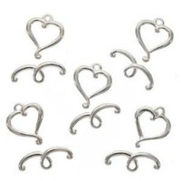 Real Silver Plated Heart Scroll Toggle Clasps 14mm (5)