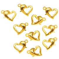 Gold Plated Heart-Shaped Lobster Clasps 12mm (10)