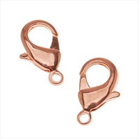 Bright Copper Plated Lobster Claw Clasps 12mm (5)