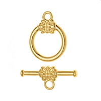 22kt Gold Plated Flower Toggle Clasps 14mm (5)