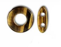 Tiger Eye Genuine Gemstone 20mm Toggle (1 set)