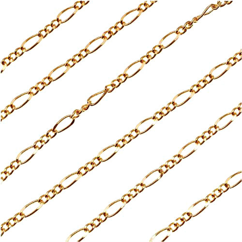 6.4mm x 2.8mm by the Foot 22K Gold Plated Figaro Chain