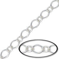 Silver Plated Chain 7x5mm/5x3mm Curb  Bulk By The Foot