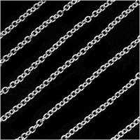 Silver Plated 2.5mm x 3mm Cable Chain - By The Foot