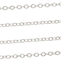 Silver Plated 2.8mm x 4mm Textured Cable Chain - By The Foot