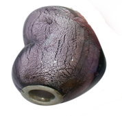 Murano Style Glass Foil Lampwork Large Heart Bead Fits Pandora 20mm Amethyst (1)