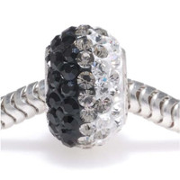 Sterling Silver Crystal Pave Pandora Style Bead - 12x7.5mm - 'Jet Rainbow'